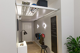 BEAM-IT-UP is a system with closets and shoe racks