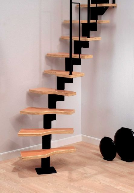 Modular staircase in black model Graz